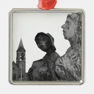 Great Famine of Ireland statues in Dublin Silver-Colored Square Ornament