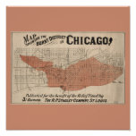 Great fire of Chicago map Poster