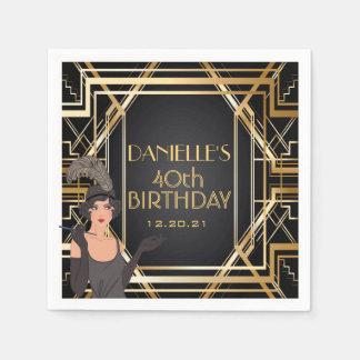 Great Gatsby Art Deco Birthday Personalized Napkin