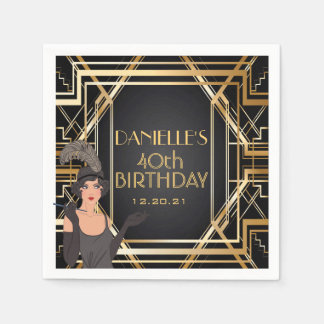 Great Gatsby Art Deco Birthday Personalized Napkin Paper Napkin