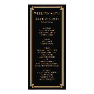 Great Gatsby Art Deco Black Gold Wedding Menu Card Personalized Rack Card