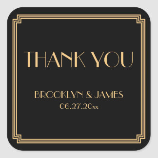 Great Gatsby Art Deco Black Gold Wedding Stickers