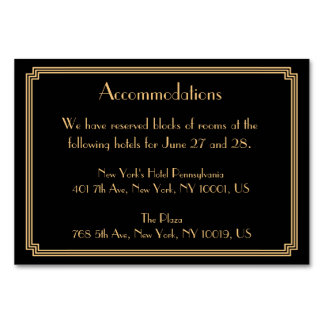 Great Gatsby Art Deco Black Wedding Accommodation Card