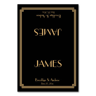 Great Gatsby Art Deco Black Wedding Place Cards