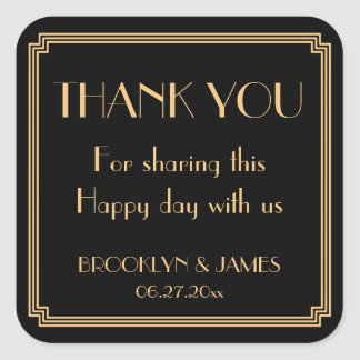Great Gatsby Art Deco Black Wedding Stickers
