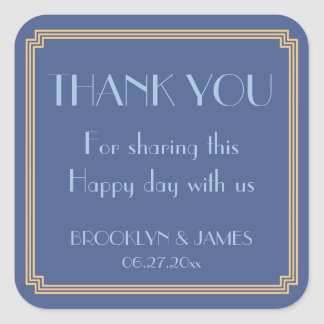 Great Gatsby Art Deco Blue Wedding Stickers