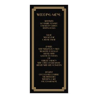 "Great Gatsby Art Deco Gold Black Wedding Menu 4"" X 9.25"" Invitation Card"