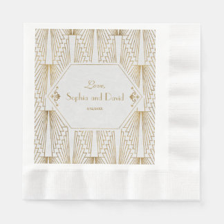 Great Gatsby Art Deco Gold White Wedding Disposable Napkins