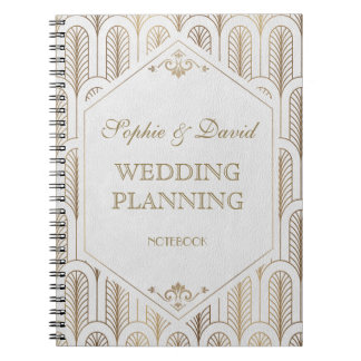 Great Gatsby Art Deco Gold White Wedding Planner Notebook