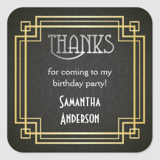 Great Gatsby Stickers, Art Deco Favor Tags