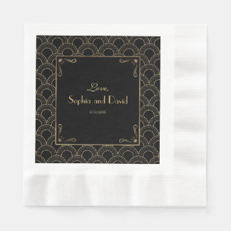 Great Gatsby Vintage 1920s Art Deco Wedding Paper Napkins
