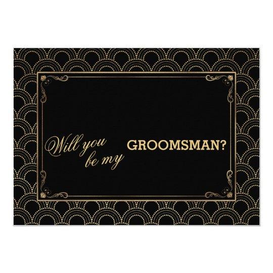 Great Gatsby Vintage Art Deco Wedding GROOMSMAN Card