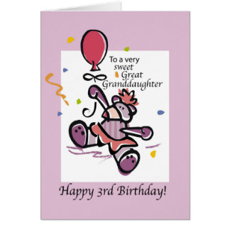 Great Granddaughter 3rd Birthday Bear Balloon Card