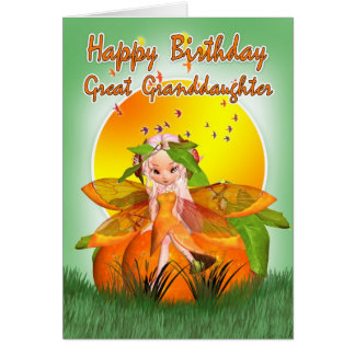 Great Granddaughter Birthday Card - Moonies Citrus