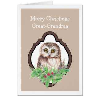 Great Grandma Merry Christmas Owl, Bird Humor Card
