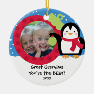 Great Grandma Photo Penguin Christmas Ornament