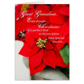 Great Grandma Poinsettia Seasons Greetings Card