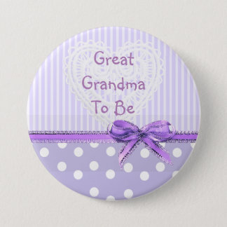 Great Grandma to be Baby Shower Button: Purple Bow 3 Inch Round Button