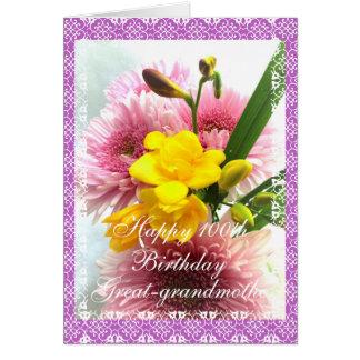 Great-grandma's 100th birthday flower bouquet card
