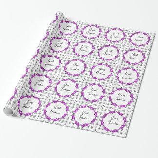 Great grandma's birthday, purple, gift wrap.