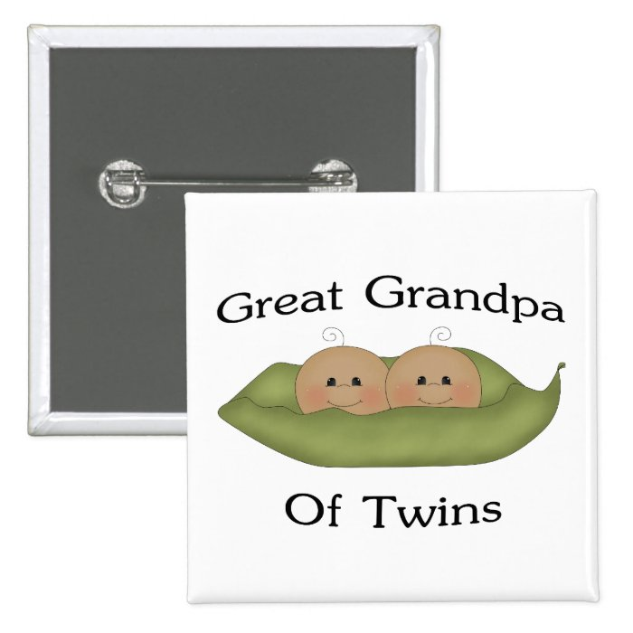 Great Grandpa Of Twins 2 Inch Square Button
