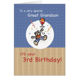 Great Grandson 3rd Teddy Bear Balloon Birthday Card