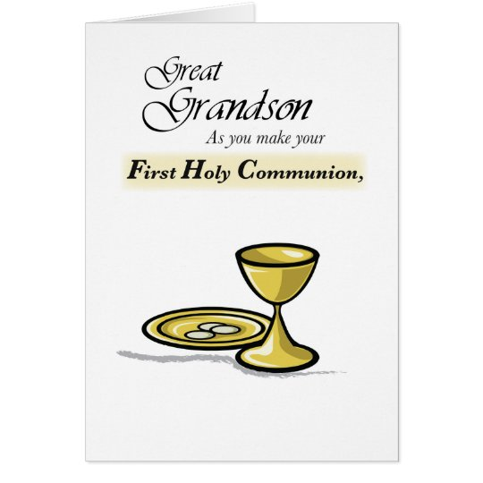 Great Grandson First Communion Gold Chalice, Paten Card