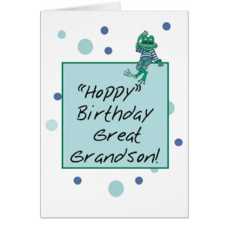 Great Grandson Frog in Jeans, Birthday, Polka Dots Card