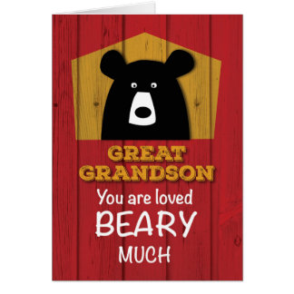 Great Grandson, Valentine Bear Wishes on Red Wood Card