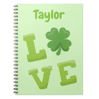 Great Green Love Personalize St Patricks Theme Notebooks