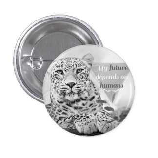 Great grey and white endangered leopard Badge