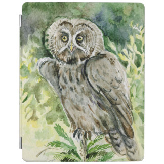 Great grey owl watercolor iPad cover