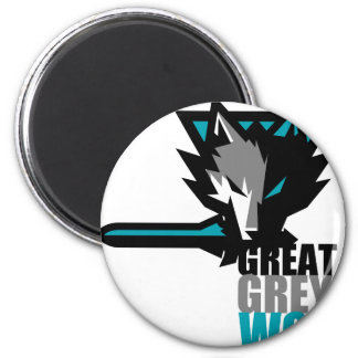 Great Grey Wolf 2 Inch Round Magnet