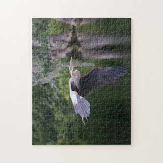 Great Heron in flight Jigsaw Puzzle