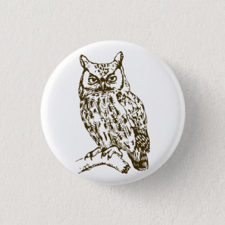 Great Horned Owl 1 Inch Round Button