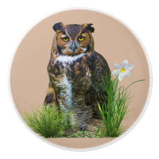 Great Horned Owl and Flower Ceramic Knob