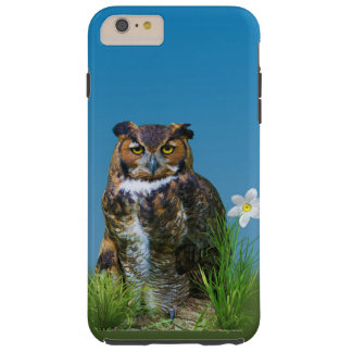 Great Horned Owl and Flower Tough iPhone 6 Plus Case