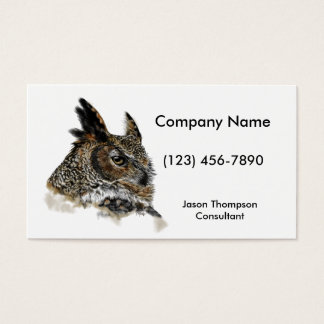 Great Horned Owl Drawing Business Card