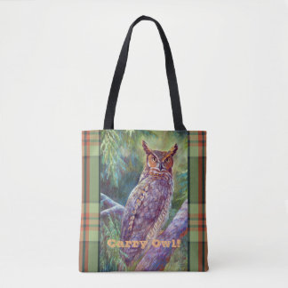 Great Horned Owl in an Eastern Forest Tote Bag