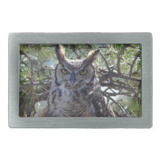 Great Horned Owl in the Tree Belt Buckle