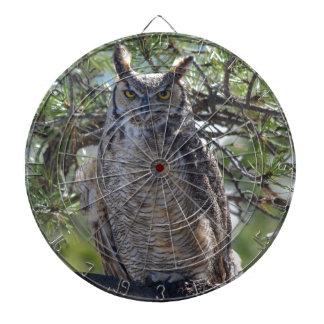 Great Horned Owl in the Tree Dartboard