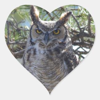 Great Horned Owl in the Tree Heart Sticker