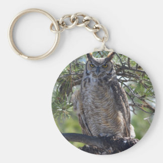 Great Horned Owl in the Tree Keychain