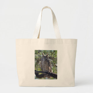 Great Horned Owl in the Tree Large Tote Bag