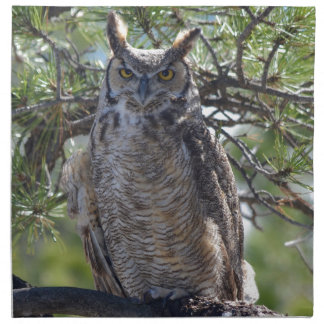 Great Horned Owl in the Tree Napkin