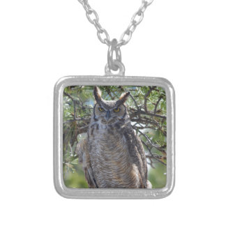 Great Horned Owl in the Tree Silver Plated Necklace