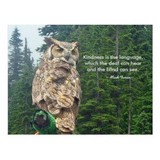 Great Horned Owl Kindness Postcard