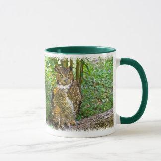 Great Horned Owl on a Log Mug