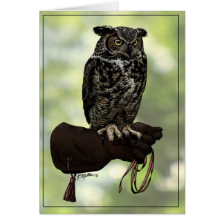 Great Horned Owl on Glove Card