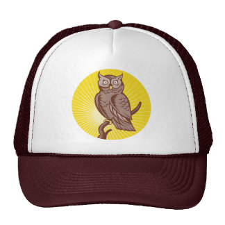 Great Horned Owl perching woodcut Hats